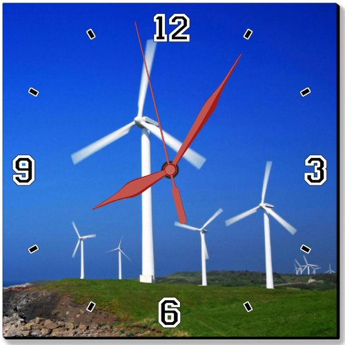 "Ocean Windmills Generators Turbines Scenery 10"" Quartz Plastic Wall Square Clock Classic Analog Setting Customized Inch Hand Needle Msd Made To Order Support Ready Dial Time Personalized Gift Battery Operated Accessories Graphic Designed Model Hd Template"