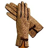 Women's Italian Leather Gloves Lined in Silk. Animal Print. By Solo Classe