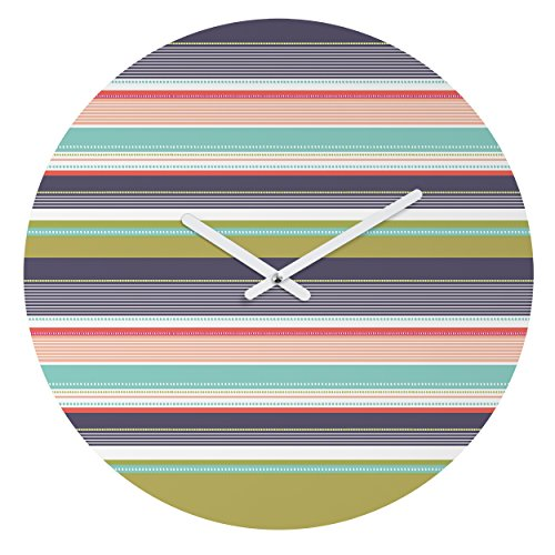DENY Designs Wendy Kendall Multi-Stripe Round Clock, 12-Inch