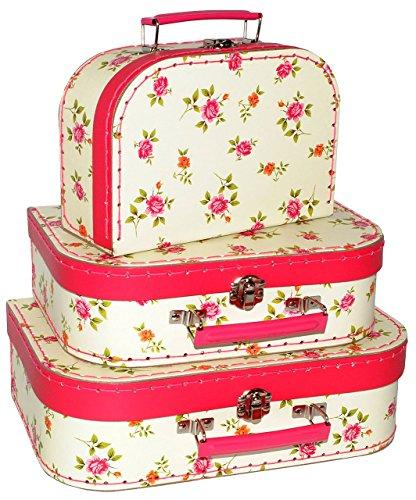 3 tlg set koffer blumen rosen pappkoffer. Black Bedroom Furniture Sets. Home Design Ideas
