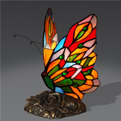 Creative butterfly table lamp art deco stained glass lamp living room butterfly tiffany lamps bedroom hotel bar lights e