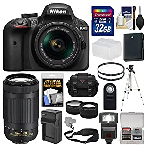 Nikon D3400 Digital SLR Camera & 18-55mm VR & 70-300mm DX AF-P Lenses with 32GB Card + Case + Flash + Tripod + Tele/Wide Lens Kit