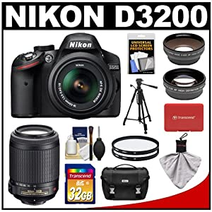Nikon D3200 Digital SLR Camera & 18-55mm G VR DX AF-S Zoom Lens (Black) + 55-200mm VR Lens + 32GB Card + Case + Filters + Tripod + Telephoto & Wide-Angle Lens Kit