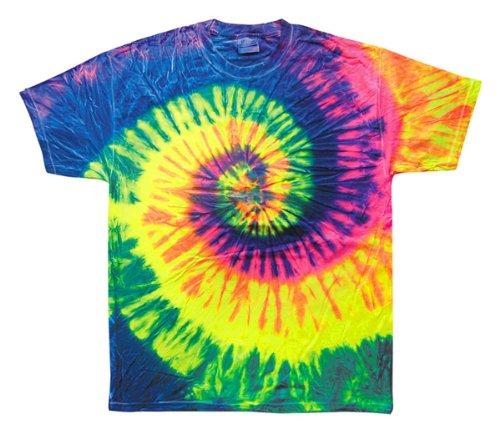 Tie Dyes Men'S Tie Dyed Performance T-Shirt H1000 Spiral-Neon Raindow-Medium