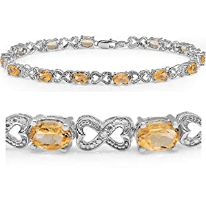 Sterling Silver Citrine and Diamond Tennis Bracelet (5 1/2cttw 7 1/2 inch) from Amanda Rose Collection