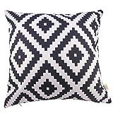 HOSL Cotton Linen Square Decorative Throw Pillow Case Cushion Cover 17.3*17.3 Inch (44CM*44CM)