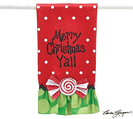 Merry Christmas Y'all Kitchen Tea Towel Decorative Holiday Kitchen Decor