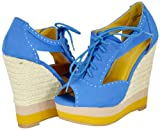 Bamboo Energy-21 Blue Women Wedge Pumps