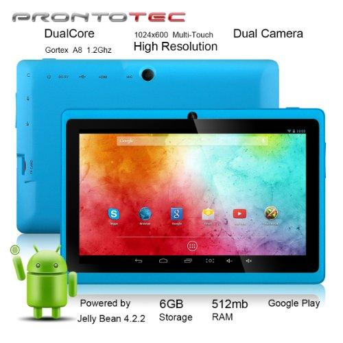ProntoTec7インチ HDタブレット Android 4.2.2  HD 1024 x 600ピクセル  Cortex A8 1.2 GHzデュアル コア プロセッサ 512MB/6GBデュアル カメラ  HDMI  Gセンサー (スカイブルー)