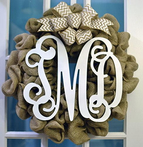 Burlap Monogram Door Wreath with White Chevron Bow; Personalized Custom Wreath; Wedding Gift
