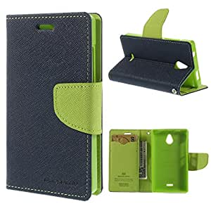 MACC Goosperry Mercury Magnetic Fancy Diary Flip Case Cover For Lenovo A6000 - NavyBlue & Parrot Green