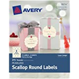 Avery Pearlized Scallop Round Labels, 2.5-Inch Diameter, Pack of 72  (8214)