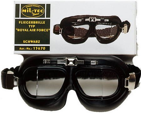 Deluxe-WW2-Reproduction-RAF-British-Aviator-Style-FLYING-GOGGLES-in-Chrome-Black