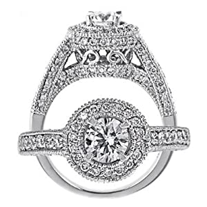 14k White Gold Round Cut Diamond Engagement Ring Vintage Style (1.17 Carats, VS-1 Clarity, H Color) from ATR Jewelry