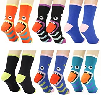 Angelina Monster-Heel Cotton Crew Socks, 6-Pair, Assorted Color Pack. Ladies Size 9-11 , #5824
