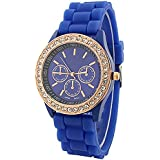 Fashion Silicone Golden Crystal Stone Quartz Ladies Jelly Wrist Watch Dark Blue
