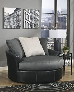 Masoli Cobblestone Collection Two Tone Living Room Oversized Swivel Accent Chair