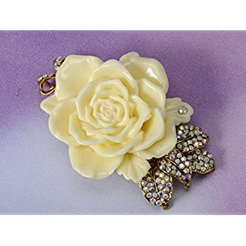 Vintage Inspired Tone Elegant Cream White Resin Enamel Rose Crystal Rhinestone Fashion Jewelry