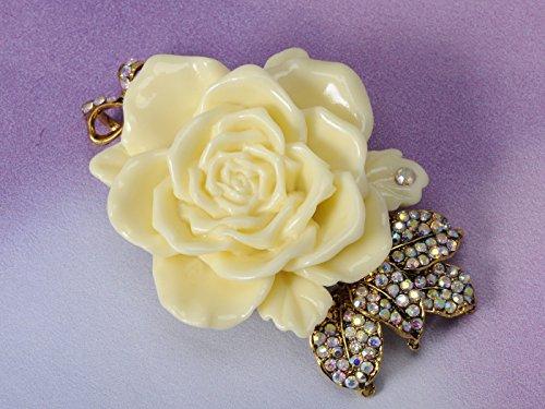 Vintage Inspired Tone Elegant Cream White Resin Enamel Rose Crystal Rhinestone Fashion Jewelry 1
