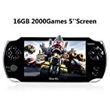 Handheld Game Console,16GB 5 Inch Screen2000 Classic Game, Support Video & Music Playing, Built-in 3M Camera, in 1USB Charge, Birthday and Holiday Best Gift for Kids (Black)… (Color: Black)