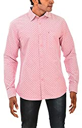 Indipulse Men's Casual Shirt (IF11600601B, Pink, XL)