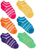 Jacques Moret Girls 7-16 Girls 6 Pack Tie Dye Stripe No Show Socks