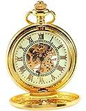 AMPM24 Luxury Golden Luminous Mens Mechanical Pocket Watch + Chain Gift WPK020