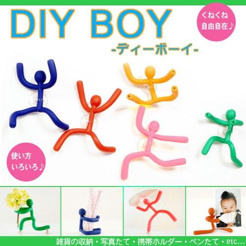 使い方いろいろ♪DIY BOY /ディーボーイ 【オレンジ】 吸盤&マグネット(磁石)対応でチェストや冷蔵庫にも♪くねくね人形