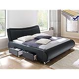 Polsterbett schwarz Bett 180x200 + Lattenrost + Matratze + Schubkasten Doppelbett Designerbett Lando
