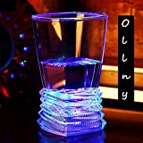 Ollny Pack of 4 Colorful LED Flashing Light Up Glowing ABS Cups Glasses Wineglass Beer Cola Juice for Bar Club Party Festival