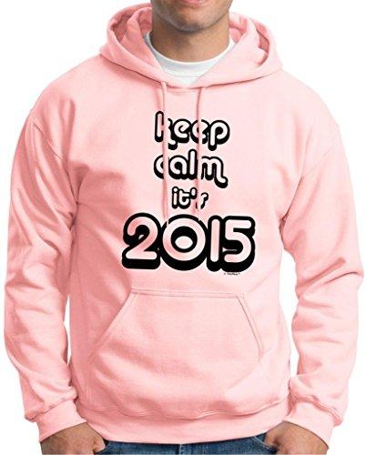Keep Calm It'S 2015 Hoodie Sweatshirt Large Light Pink