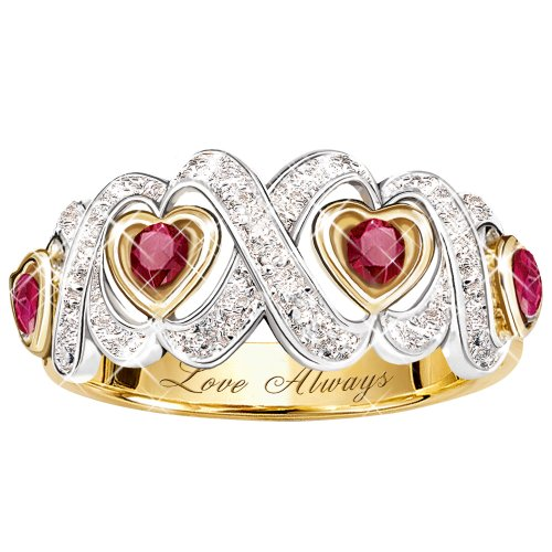 Engraved Hearts And Kisses Ruby And Diamond Ring Jewelry Gift For Her