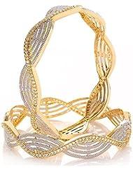 Awww Precious American Diamond Designer Gold Plated Bangle Jewellery For Women & Girls Set Of 2