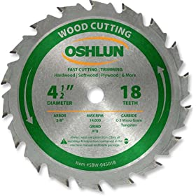 Oshlun SBW-045018 4-1/2-Inch 18 Tooth ATB Fast Cutting and Trimming Saw Blade with 3/8-Inch Arbor at Sears.com