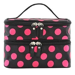 DAOKAI® Polka Dots Double Layer Dual Zipper Cosmetic Bag Toiletry Bag Make-up Bag Hand Case Bag