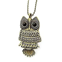 Sorella'z Vintage Owl Long Chain Necklace