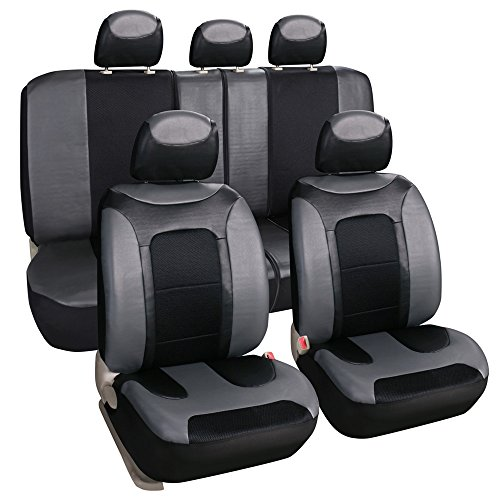 Leader Accessories Universal Full Set Car Seat Covers PU Leather Auto Seat Cover Grey (Front & Rear Seat Covers) (Faux Leather Auto Seat Covers compare prices)