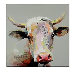 cubism-30x30inch Oil Painting 100% Hand-painted on Canvas Milk Cow Modern Animal Wall Art Home Decoration for Living Room or Hotel,Stretched- Ready to hang!