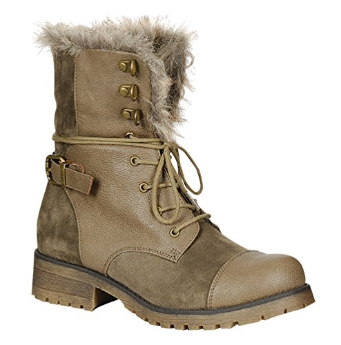 STYLUXE Women's Martin Faux Suede-leather and Faux Fur Trimed Taupe Combat Boots