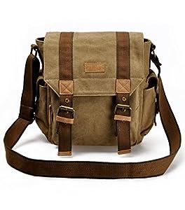 ZLYC Retro Men's Canvas Leather Messenger Shoulder Bag Fits iPad Air