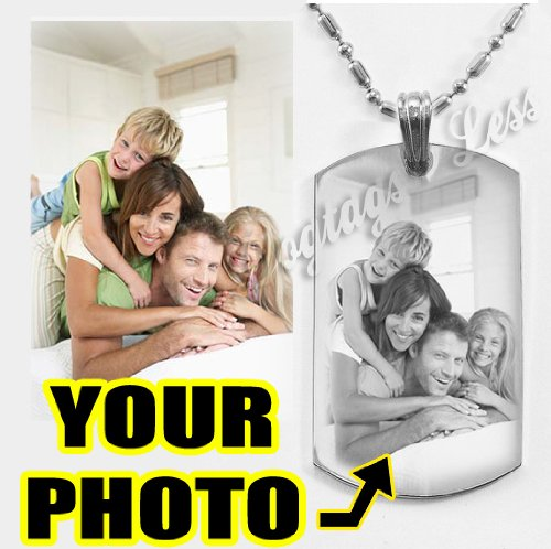 Personalized Photo Text Dogtags Custom Your Picture Text Necklace Pendant + Free Engraving # Valentine's Mother's Father's