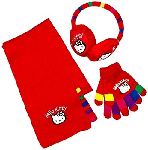 [Hello Kitty HM4323 Girl's Earmuffs, Scarf and Glove Set (Chinese Red)] (Hello Kitty Ears)
