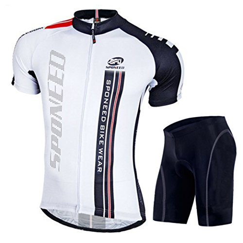 Sponeed Men's Bicycle Jersey Polyester and Lycra Fashion Set Size Asia XXL/ US XL White (Rock Cycling Jersey compare prices)