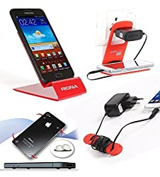 Riona Mobile holder A4L Red + Hanger Stand + Cable Organizer + Scratch Guard ... A4LR-C