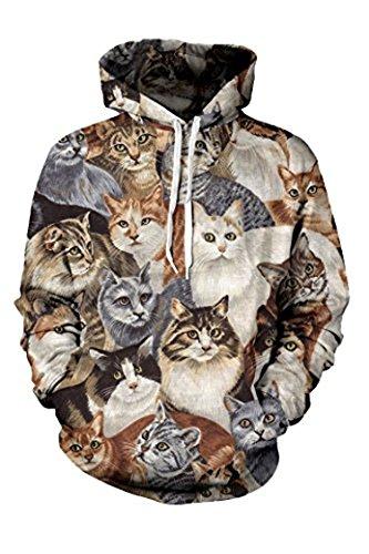 Hurama Womens 3D Digital Printed Big Pockets Sweatshirts Hoodies All cat M