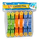 FLOWER -SHAPED Clothespins Plastic Clothes Pegs for Laundry or Classroom Art Projects 12 pack