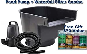 3200 Gph Pond Pump And Waterfall Filter Combo Kit With Free Pond Care Kit And 25ft