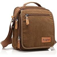 ibagbar Small Canvas Shoulder Bag Messenger Bag Work Bag (Brown)