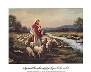 Jesus the Shepherd (Verse) - Poster by Myung Bo (10 x 8)