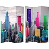 Oriental Furniture Big Size New York City Skyline, 6-Feet Photo Print Canvas Room Divider, Colorized